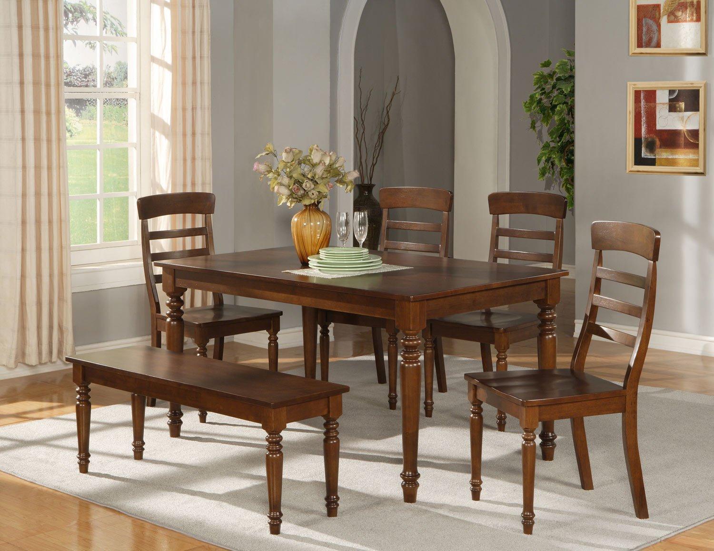 "Vintage 6-PC Kitchen Set in dark oak- Table W36""xL60"" with 4 Chairs +1 Bench- SKU: VT6-ESP"