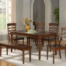 "Vintage 6-PC Kitchen Set in dark oak- Table W36""xL60"" with 4 Chairs +1 Bench- SKU: VT6-ESP"