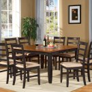 Parfait 7-Pc Dining Set- Dining Set, Table w/6 upholstered Chairs in Black & Cherry. SKU: PA7-BLK-C