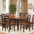 Parfait 9-Pc Square Dining Set, Table with 8 wood seat Chairs in Black & Cherry. SKU: PA7-BLK-W