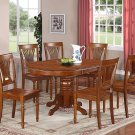 7PC Dover Dining Table with 6 Wood Seat Chairs in Saddle Brown, SKU: DOVER7-SBR-W