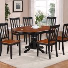 7-PC Easton Oval Dining Table with 6 Wood Seat Chairs in Black & Saddle Brown. SKU#: ET7-BLK-W