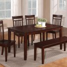 6PC CAPRI KITCHEN SET TABLE with 4 WOOD SEAT CHAIRS & ONE BENCH IN MAHOGANY -SKU# C6S-MAH-W