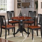 5-PC Antique Round Kitchen Table + 4 Avon Wood Seat Chairs Black & Saddle Brown SKU# ANAV5-BLK-W