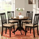 5-PC Antique Round Table with 4 Chairs in Black and Saddle Brown Colors. SKU#: ANT5-BLK-W
