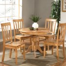 5-PC Antique Round Table with 4 Wood Chairs in Oak Finish. SKU#: ANT5-OAK