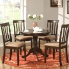5-PC Antique Round Table with 4 Microfiber Upholstered Chairs in Cappuccino Finish. SKU#: ANT5-CAP