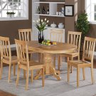 7-PC Easton Oval Dining Room Set Table with 6 Wood Seat Chairs in Oak Finish