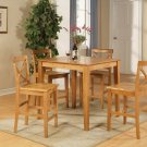3-PC Square Pub Set Counter Height Table with 2 Wood Seat Chairs in Oak Finish