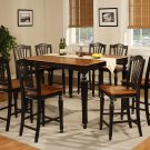 Chelsea Counter Height Set Table with 8 Wooden Seat Chairs in Black & Cherry Finish SKU#: CH9-BLK-W