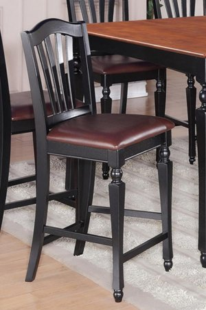 """SET OF 2 KITCHEN COUNTER HEIGHT CHAIRS 24"""" w/ FAUX LEATHER IN BLACK & CHERRY, SKU: CC-BLK-LC"""