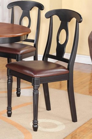 SET OF 2 KENLEY DINETTE KITCHEN DINING CHAIRS w/ LEATHER SEAT IN BLACK, SKU: KC-BLK-LC