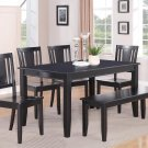 """6PC DINETTE DINING SET TABLE 36x60"""" w/4 WOODEN SEAT CHAIRS & 1 BENCH IN BLACK FINISH, SKU: DU6-BLK-W"""