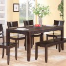 6PC RECTANGULAR DINETTE KITCHEN DINING TABLE w/ 4 PLAIN WOOD SEAT CHAIRS &1 BENCH, SKU: LY6-CAP-W