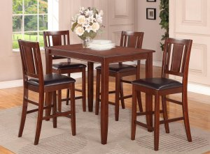 5pc Buckland rectangular counter height table + 4 leather seat chairs in mahogany, SKU# BUCK5-MAH-LC