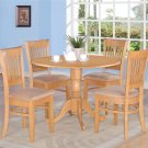 "5PC Dublin Vancouver dinette 42"" Round Table Drop Leaves + 4 Upholstered Chairs, OAK. SKU: DV5-OAK-C"