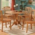 3PC Dublin Round Dinette Table w/ Drop Leaf & 2 Wood Seat Chairs in OAK. SKU#: D3-OAK-W