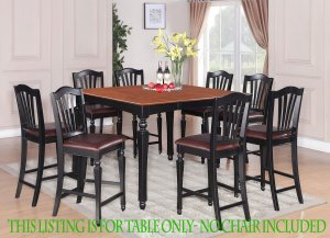 """Dinette Dining Counter Height Table with 18"""" Leaf (without chair) in Black & Cherry SKU#: CT-BLK-T"""