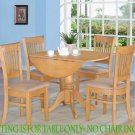 """42"""" ROUND DINETTE KITCHEN DINING TABLE WITH 2 DROP LEAVES IN OAK FINISH, NO CHAIR. SKU: DT-OAK-T"""