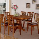 7pc Avon Dinette Kitchen Dining Set Oval Table + 6 Leather Seat Chairs in Saddle Brown AV7-SBR-LC