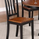 SET OF 4 ANTIQUE DINETTE KITCHEN DINING CHAIRS W/ WOOD SEAT, BLACK & CHERRY BROWN, SKU: AC-BLK-W