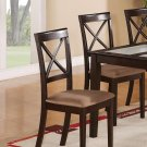 Set of 2 Boston Dinette Dining Chairs w/ Microfiber Upholstered in Cappuccino Finish, SKU: BC-CAP-C