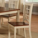 Set of 2 dinette dining chairs with plain wood seat in buttermilk & cherry brown, SKU: NC-WHI-W
