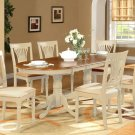 7PC Plainville Oval Dining Table w/6 Cushion Chairs Buttermilk & Cherry SKU: PLAI7-WHI-C