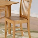 Set of 2 Norfolk dinette kitchen dining chairs with wooden seat in light oak finish. SKU: NFC-OAK-W
