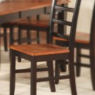 Set of 2 Parfait dinette dining chairs with plain wood seat in black & cherry brown