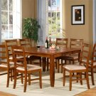 9pc Parfait Dining Set Square Table w/8 upholstered seat Chairs in Saddle Brown, SKU: PA9-SBR-C
