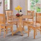 3PC dinette kitchen round table drop leaf + 2 plain wood seat chairs in OAK. SKU: DV3-OAK-W