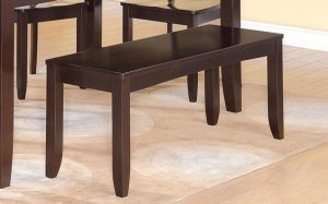 """Lynfield Dinette Kitchen Dining Bench in Cappuccino L48""""xD16""""xH18"""". SKU: LY-WB-CAP"""