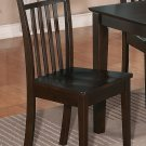 Set of 4 Capri kitchen dining chairs with plain wood seat in Cappuccino. SKU: EWCDC-CAP-W4