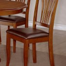 Set of 2 Avon Dinette Dining Chairs with Leather Seat in Saddle Brown Finish, SKU: AVC-SBR-LC2