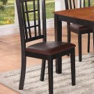 Set of 8 Nicoli kitchen dining chairs with leather seat in black finish, SKU: NC-BLK-LC8