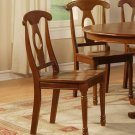 Set of 2 Napoleon dining chairs with plain wood seat in saddle brown finish, SKU: NAC-SBR-W2