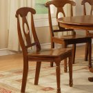 Set of 10 Napoleon dining chairs with plain wood seat in saddle brown finish, SKU: NAC-SBR-W10