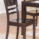 Set of 2 Lynfield dinette dining chairs with plain wood seat in cappuccino, SKU: LY-WC2-CAP