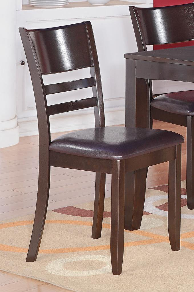 Set of 2 Lynfield dinette dining chairs with leather seat in cappuccino, SKU: LY-LC2-CAP