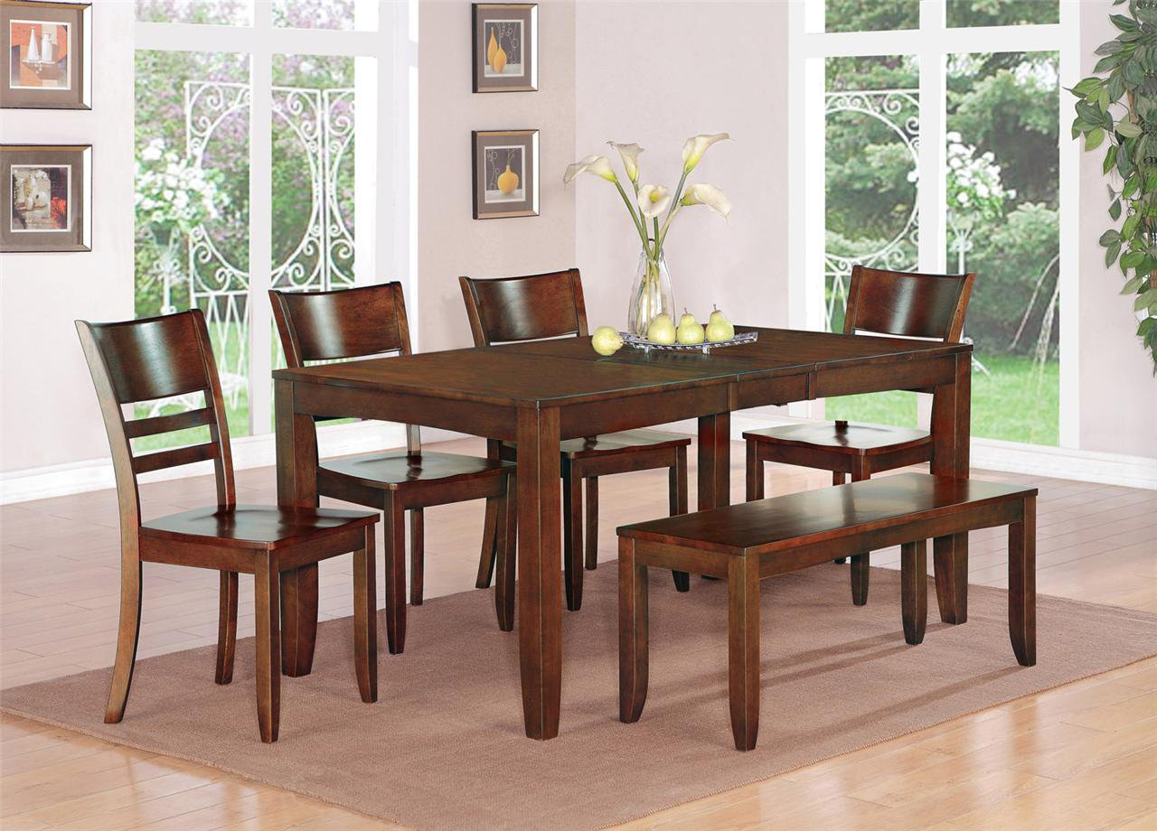 7PC LYNFIELD KITCHEN DINING TABLE w/6 PLAIN WOOD SEAT ...