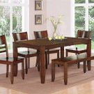 7PC LYNFIELD KITCHEN DINING TABLE w/6 PLAIN WOOD SEAT CHAIRS IN ESPRESSO (NO BENCH) SKU: LY7-ESP-W