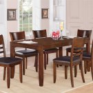 7PCS LYNFIELD RECTANGULAR DINETTE DINING SET TABLE w/6 LEATHER CHAIR, ESPRESSO SKU: LY7-ESP-LC