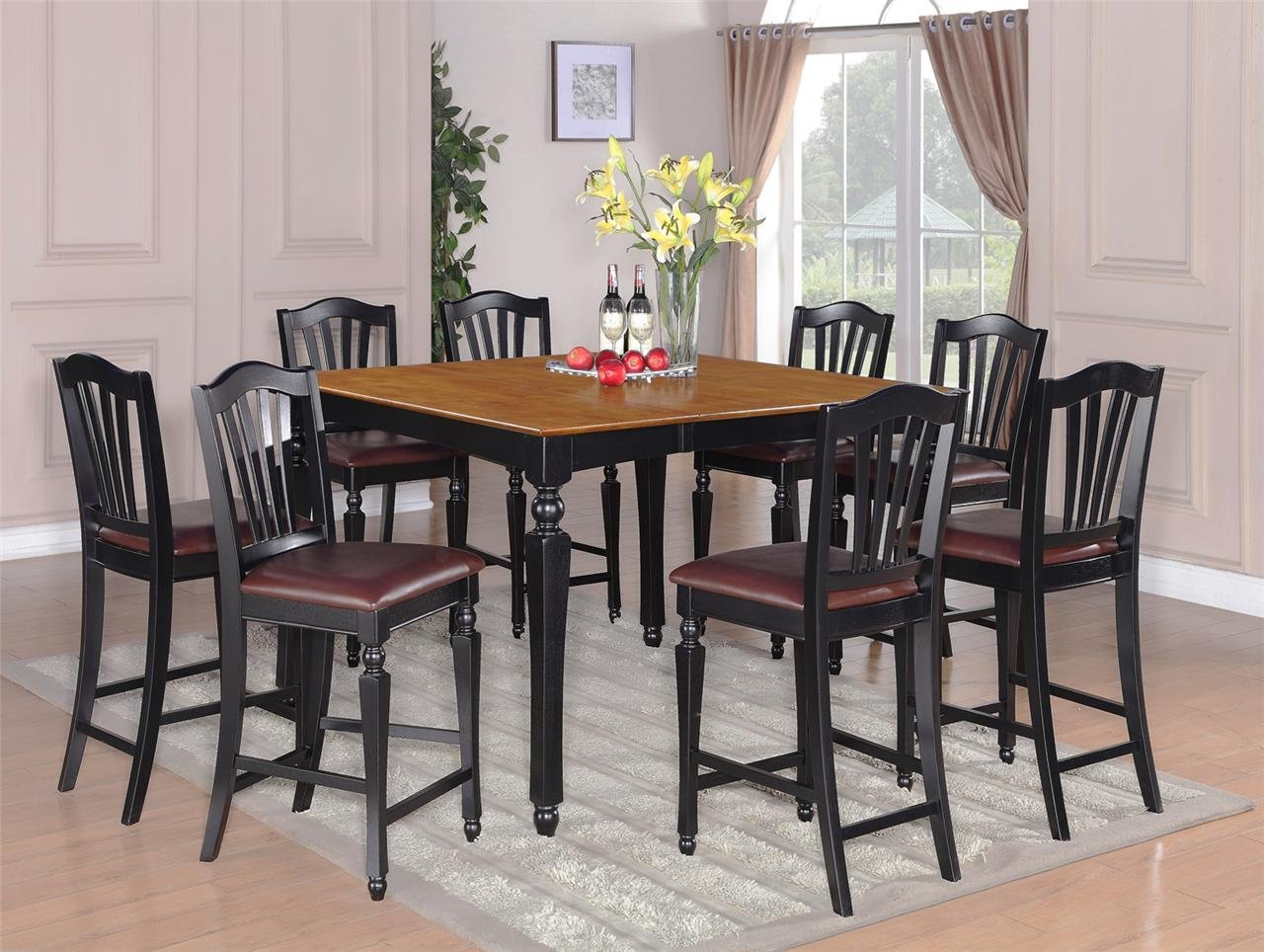 9pc chelsea kitchen counter height table w 8 leather seat chairs in black cherry sku ch9 blk lc. Black Bedroom Furniture Sets. Home Design Ideas
