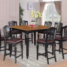 9pc Chelsea Kitchen Counter Height Table w/8 Leather Seat Chairs in Black & Cherry, SKU: CH9-BLK-LC
