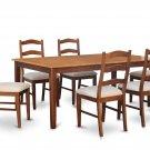 7PC Henley Dining Table w/ 6 Cushion Chairs in Espresso & Cinnamon. SKU: H7-BRN-C