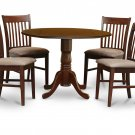 5PC Dublin dinette round table drop leaf + 4 Norfolk upholstered chairs in mahogany. SKU: DNO5-MAH-C