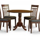 5PC Dublin round table, drop leaf + 4 Capri leather seat chairs in mahogany. SKU: DCA5-MAH-LC