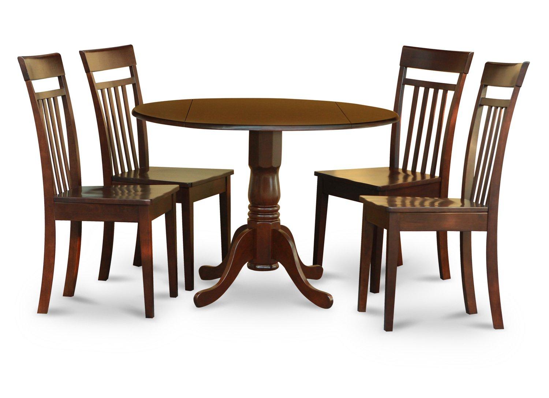 5pc Dublin Round Table W Drop Leaf 4 Capri Wood Seat