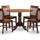5PC Dublin round table w/ drop leaf + 4 Norfolk wood seat chairs in mahogany. SKU: DNO5-MAH-W